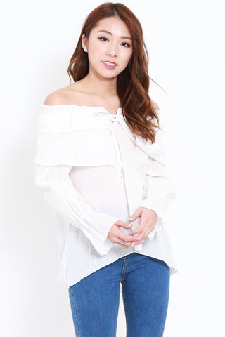 Ribbon Ruffle Top (White)