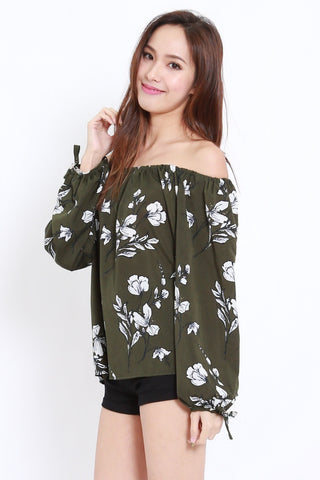 Ribbon Sleeve Floral Offsie (Forest)