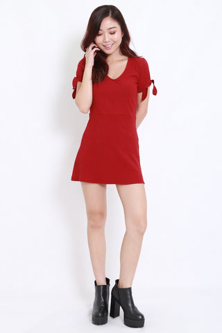 Ribbon Sleeve Ribbed Dress (Maroon)