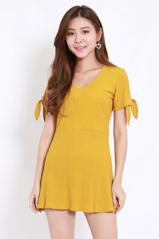 Ribbon Sleeve Ribbed Dress (Mustard)