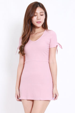 Ribbon Sleeve Ribbed Dress (Pink)