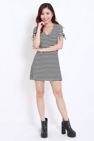 Ribbon Sleeve Ribbed Dress (Stripes)