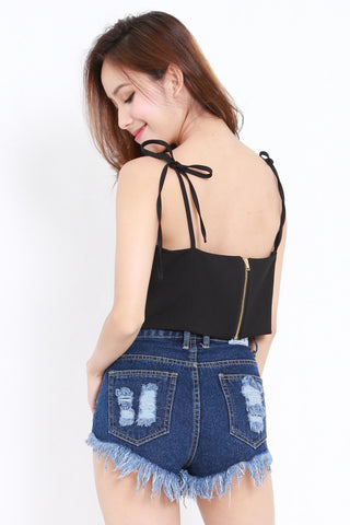 Ribbon Tie Crop Top (Black)
