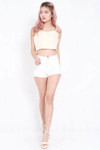 Ribbon Tie Crop Top (Cream)