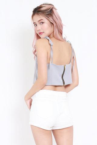 Ribbon Tie Crop Top (Grey)