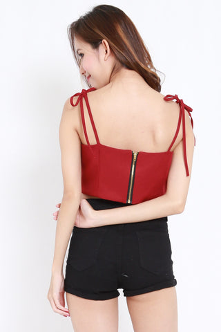 Ribbon Tie Crop Top (Maroon)