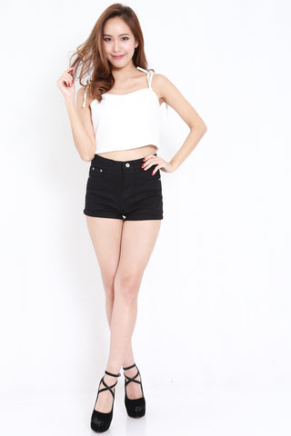 Ribbon Tie Crop Top (White)