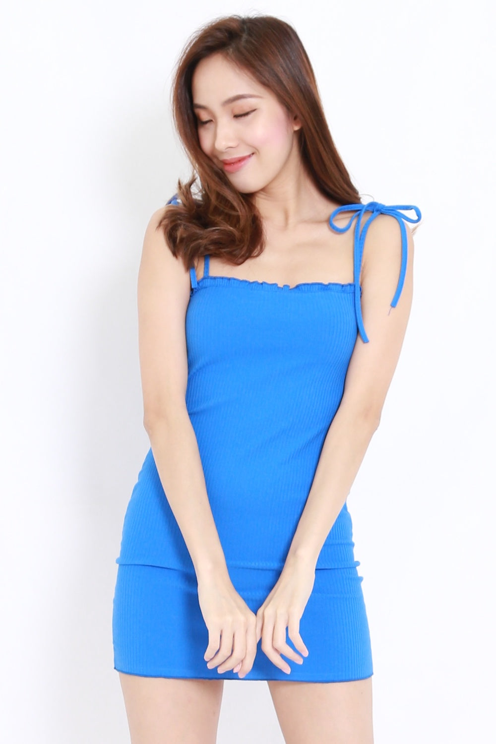 Ribbon Tie Ribbed Dress (Blue)