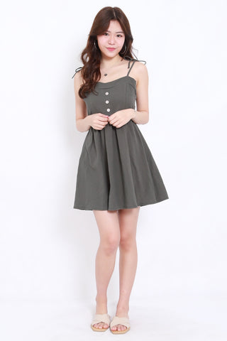 Ribbon Tie Button Dress (Olive Grey)