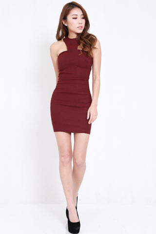 Rosalyn Bandage Dress (Maroon)