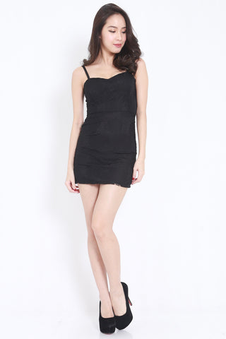 Rosette Lace Spag Dress (Black)