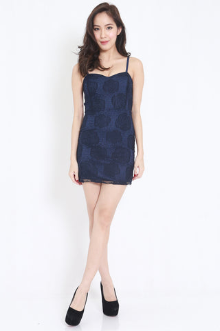 Rosette Lace Spag Dress (Navy)