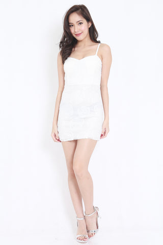 Rosette Lace Spag Dress (White)
