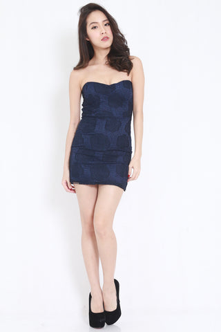 Rosette Lace Tube Dress (Navy)