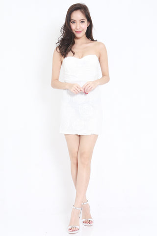 Rosette Lace Tube Dress (White)