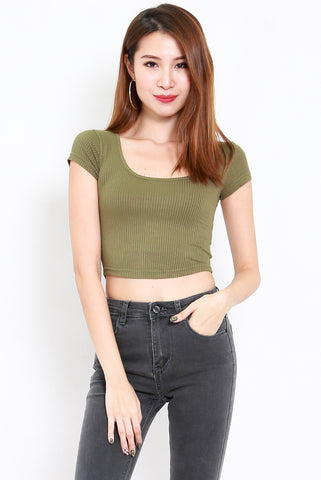 Round Neck Ribbed Crop Tee (Olive)