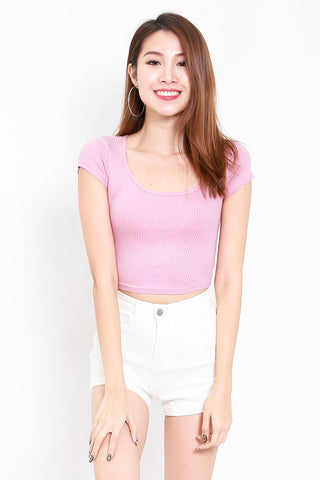 Round Neck Ribbed Crop Tee (Pink)