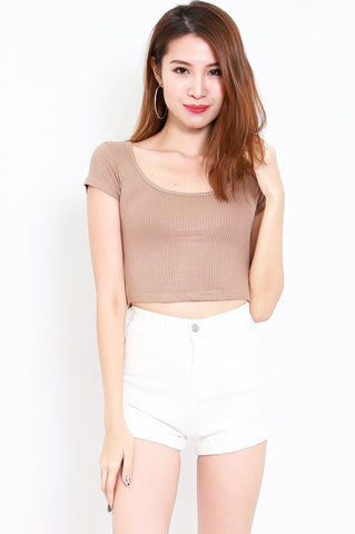 Round Neck Ribbed Crop Tee (Taupe)