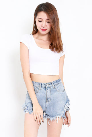 Round Neck Ribbed Crop Tee (White)