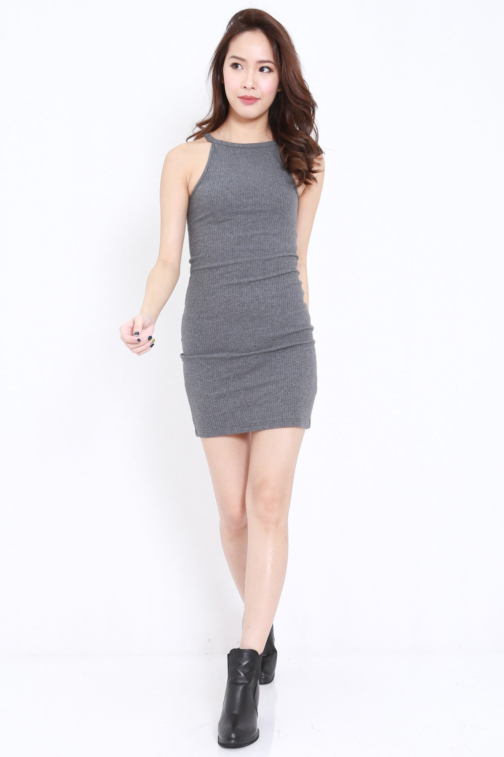 Round Neck Ribbed Dress (Grey)