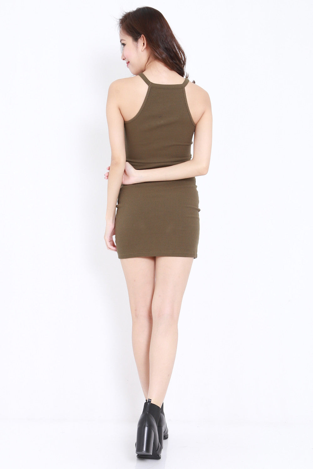 Round Neck Ribbed Dress (Olive)