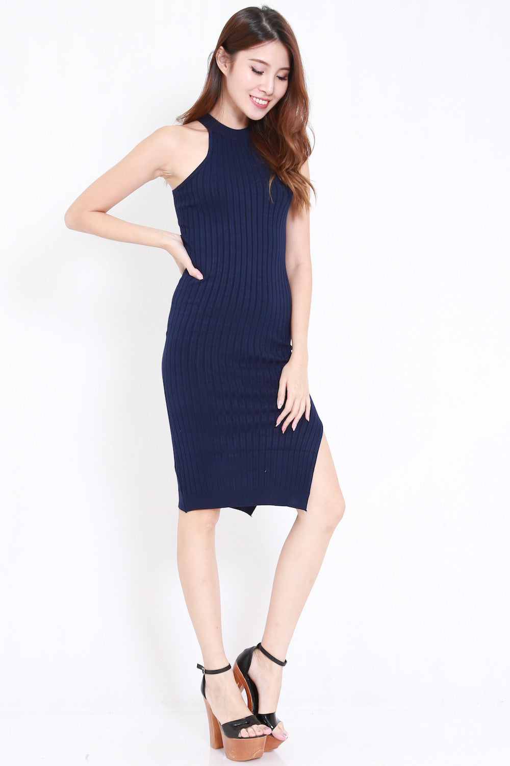 Round Neck Ribbed Midi Dress (Navy)