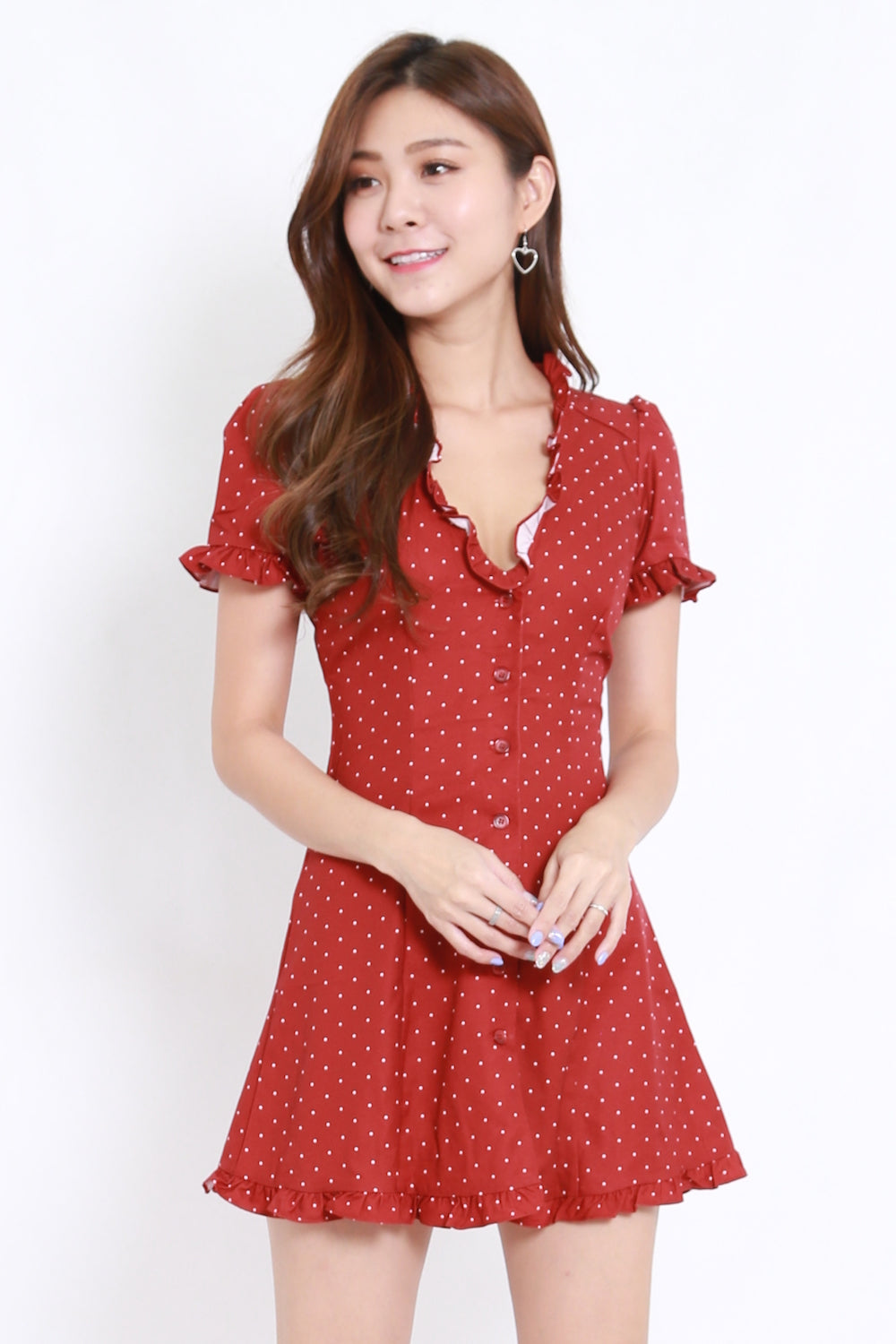 Ruffle Buttons Dress (Red Polka)
