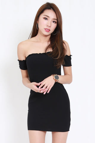 Ruffle Edge Offsie Dress (Black)