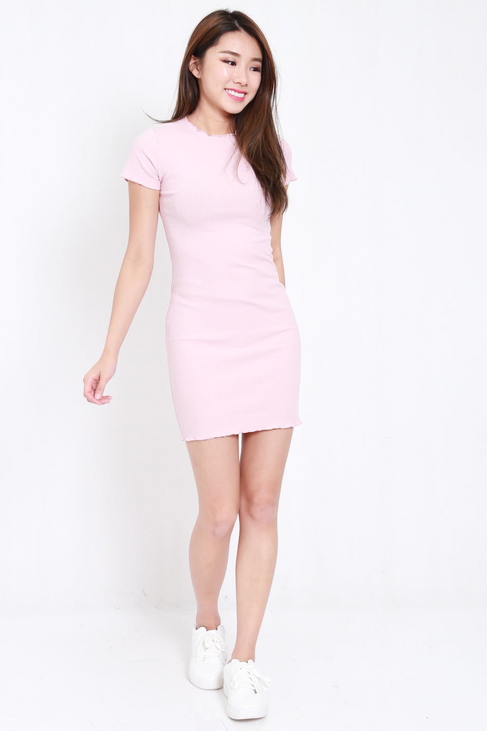 Ruffle Edge Ribbed Tee Dress (Pink)