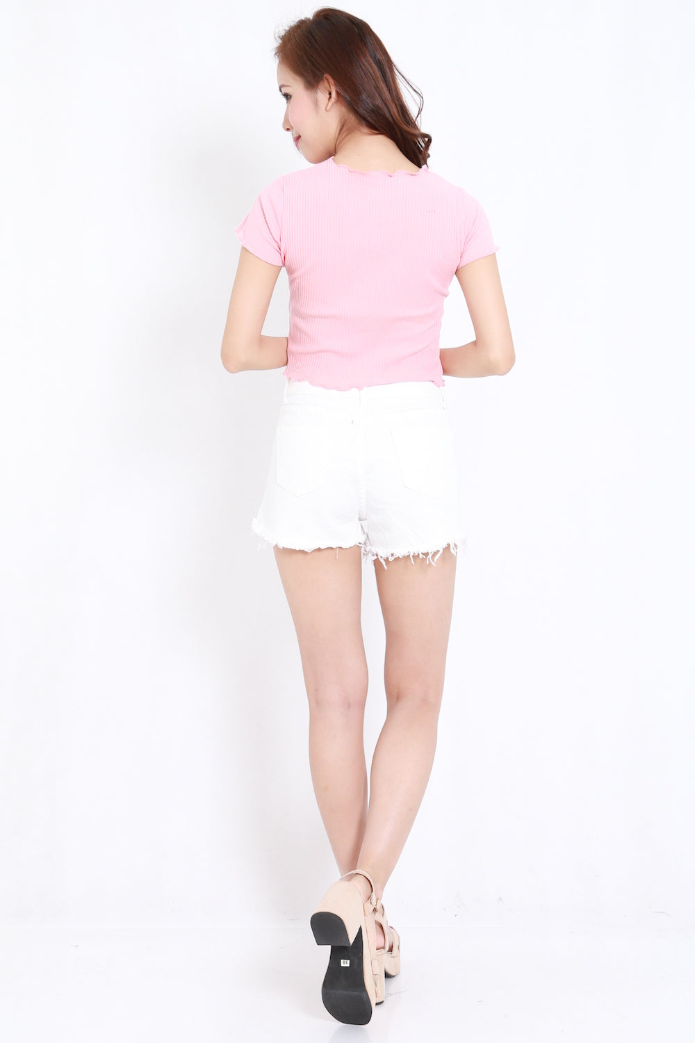 Ruffle Edge Ribbed Top (Pink)