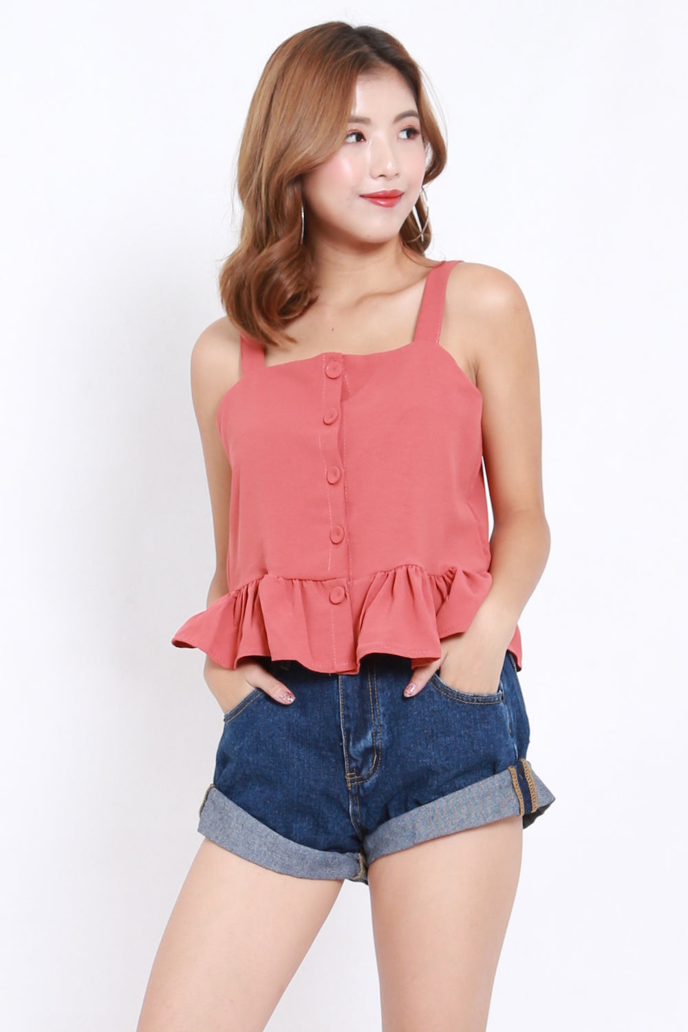 Ruffle Hem Button Top (Rosewood)