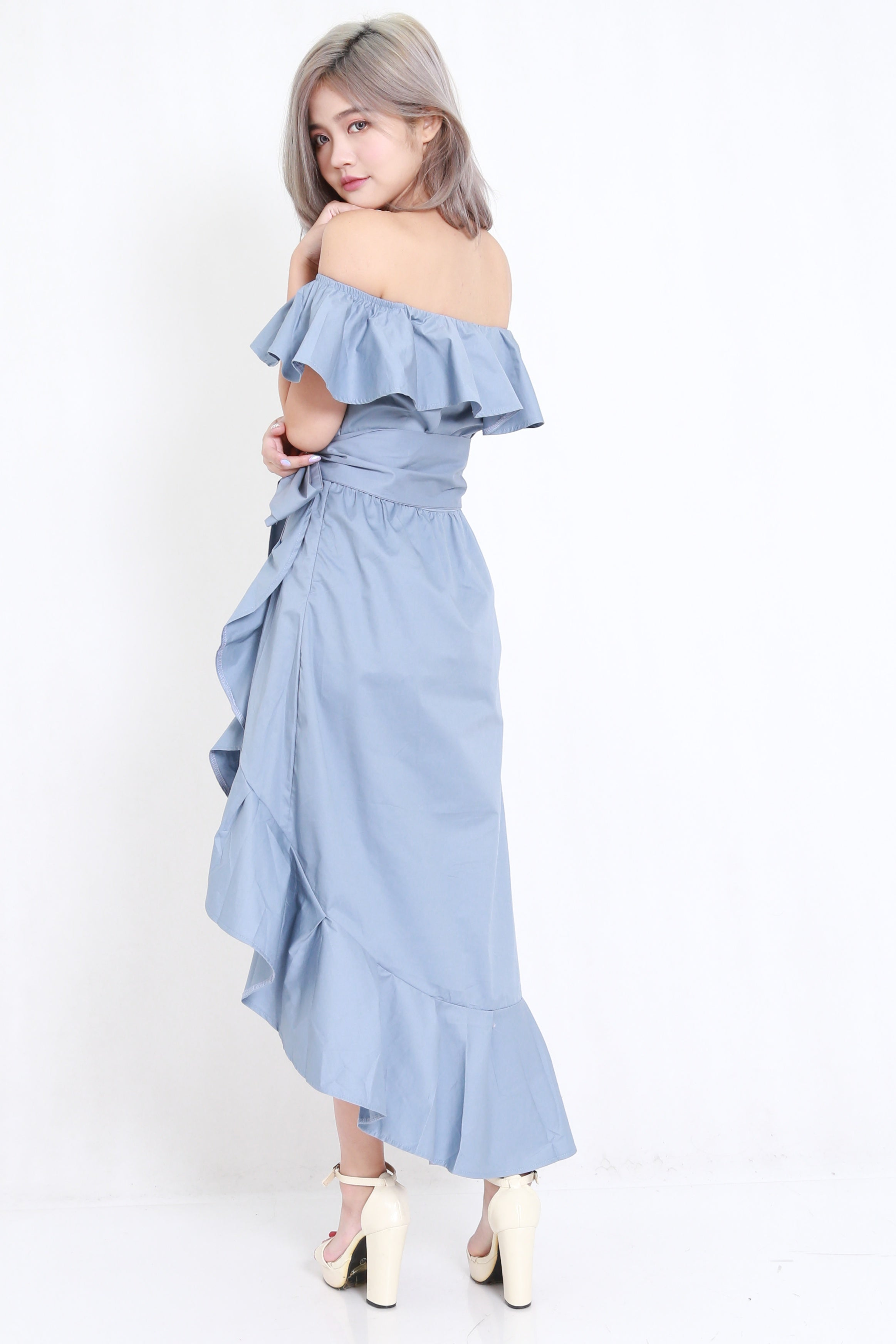 Ruffle Off Shoulder Maxi (Blue)
