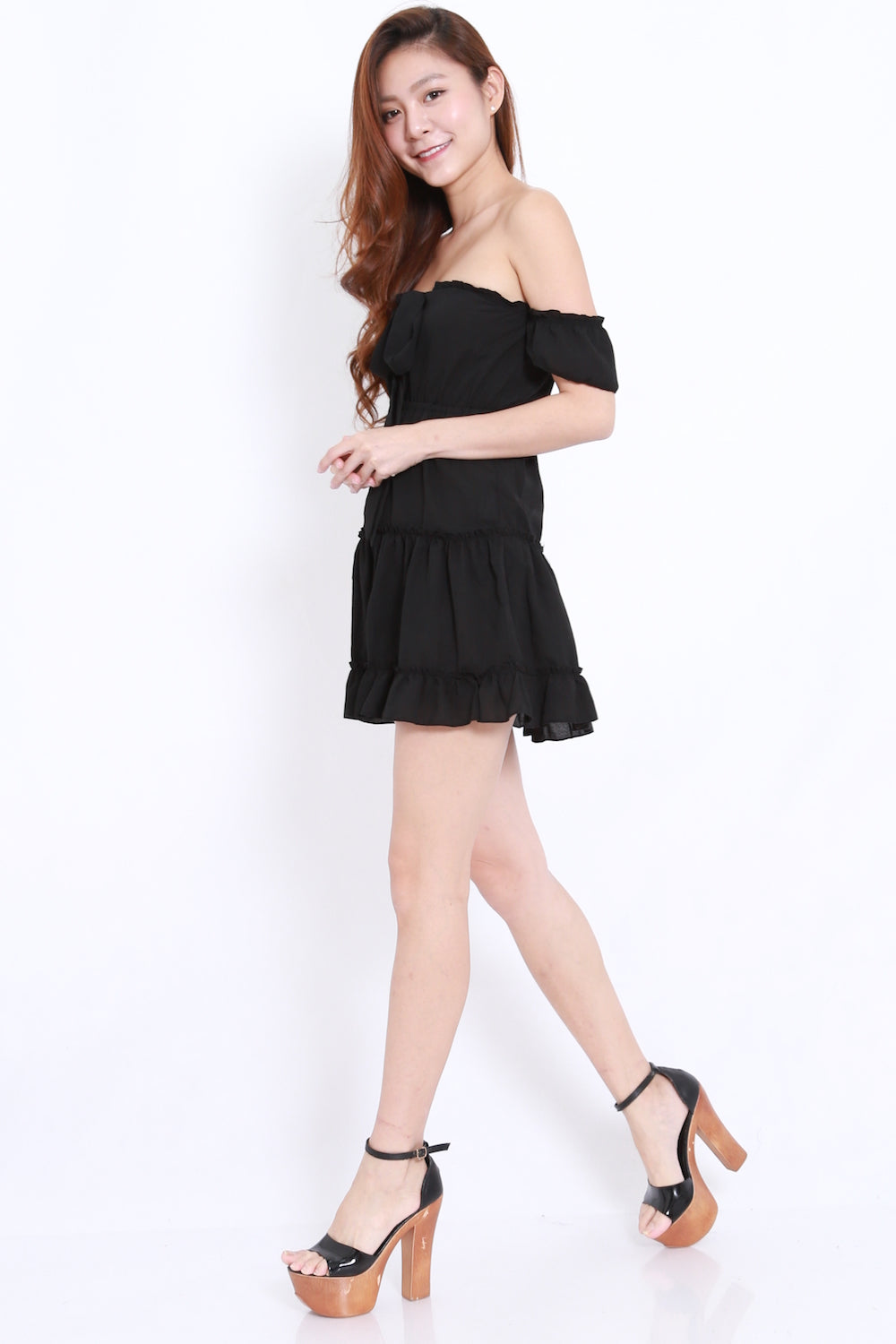 Ruffle Ribbon Offsie Dress (Black)