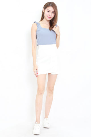 Ruffle Sleeve Crop Top (Blue)