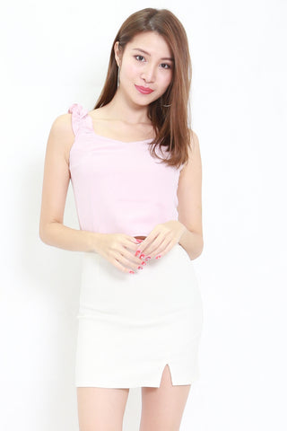 Ruffle Sleeve Crop Top (Pink)