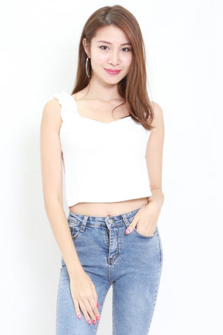 Ruffle Sleeve Crop Top (White)
