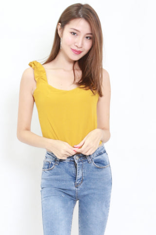 Ruffle Sleeve Crop Top (Yellow)