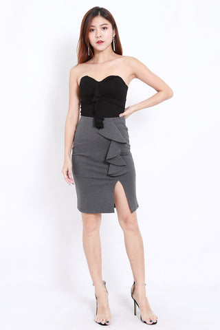 Ruffle Slit Skirt (Grey)