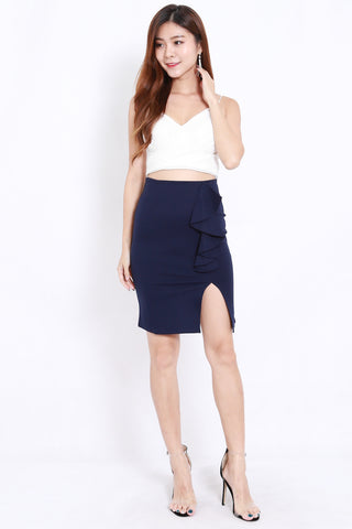Ruffle Slit Skirt (Navy)