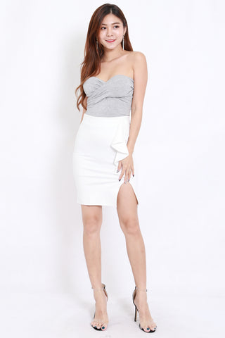 Ruffle Slit Skirt (White)