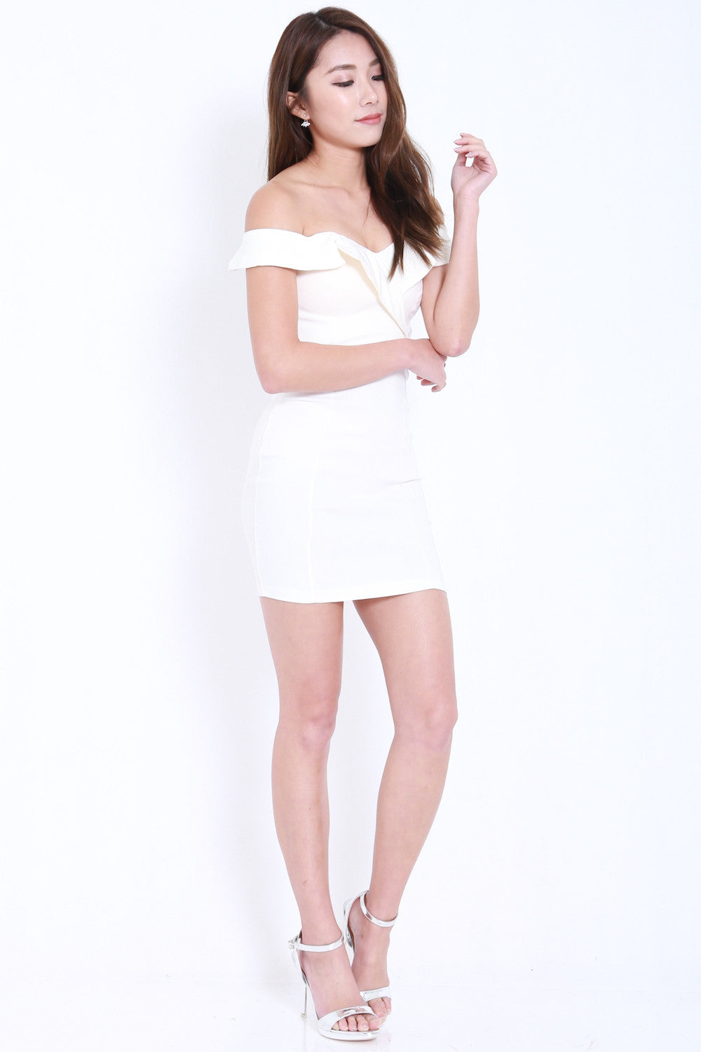 Ruffle Sweetheart Dress (White) -  - 4