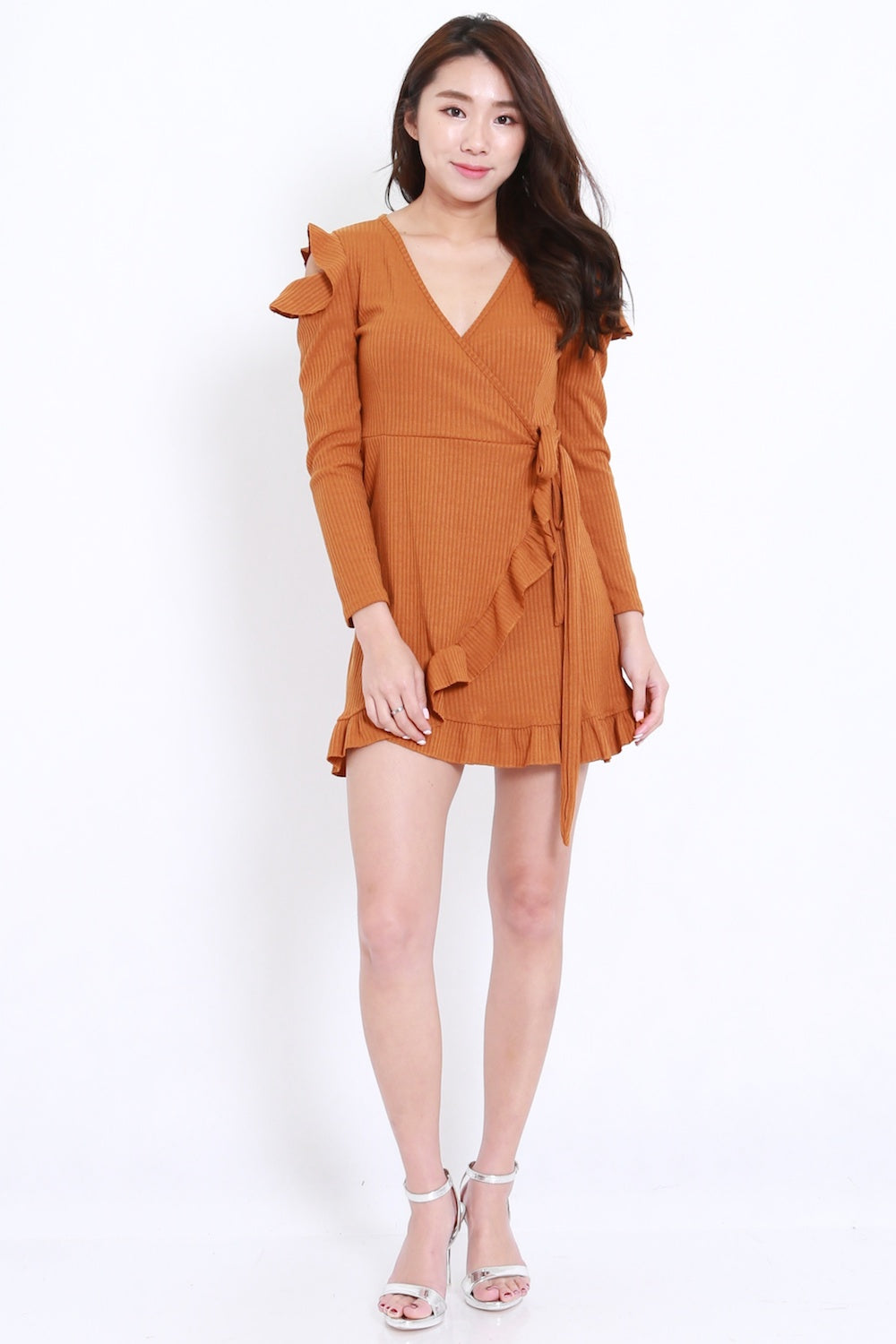 Ruffle Wrap Dress Dress (Camel)