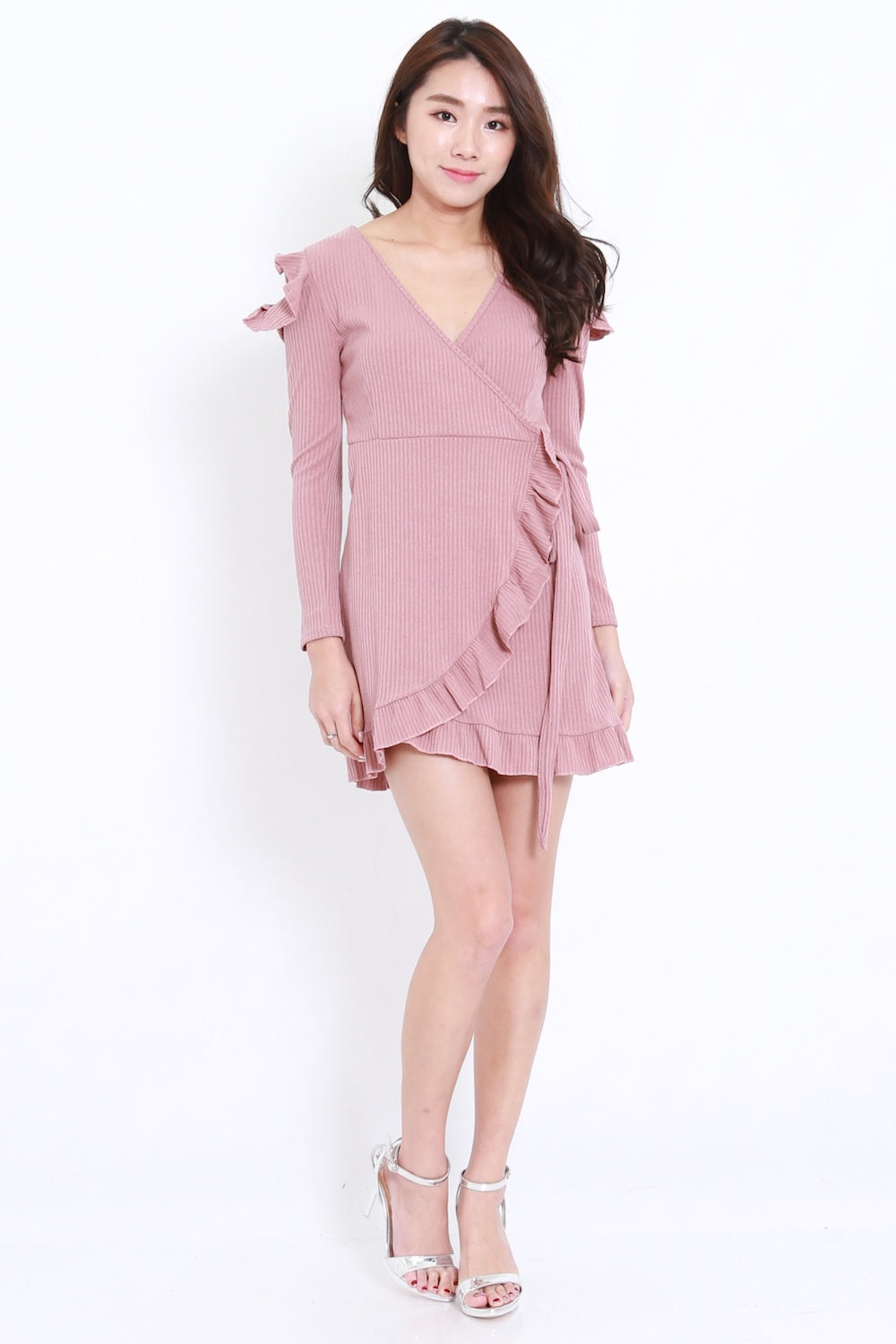 Ruffle Wrap Dress Dress (Pink)