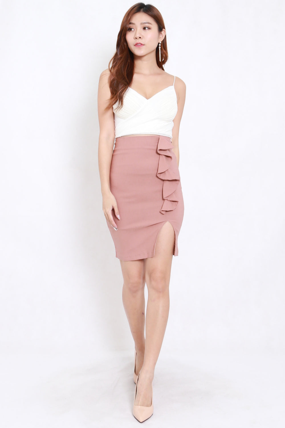 Ruffles Slit Skirt (Tan-Nude)