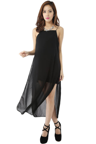 Runway Chiffon Maxi Dress (Black) -  - 1