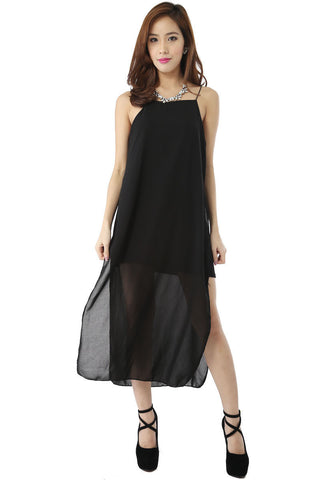 Runway Chiffon Maxi Dress (Black) -  - 2