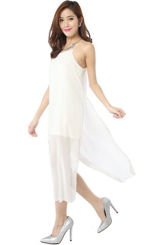 Runway Chiffon Maxi Dress (White) -  - 1