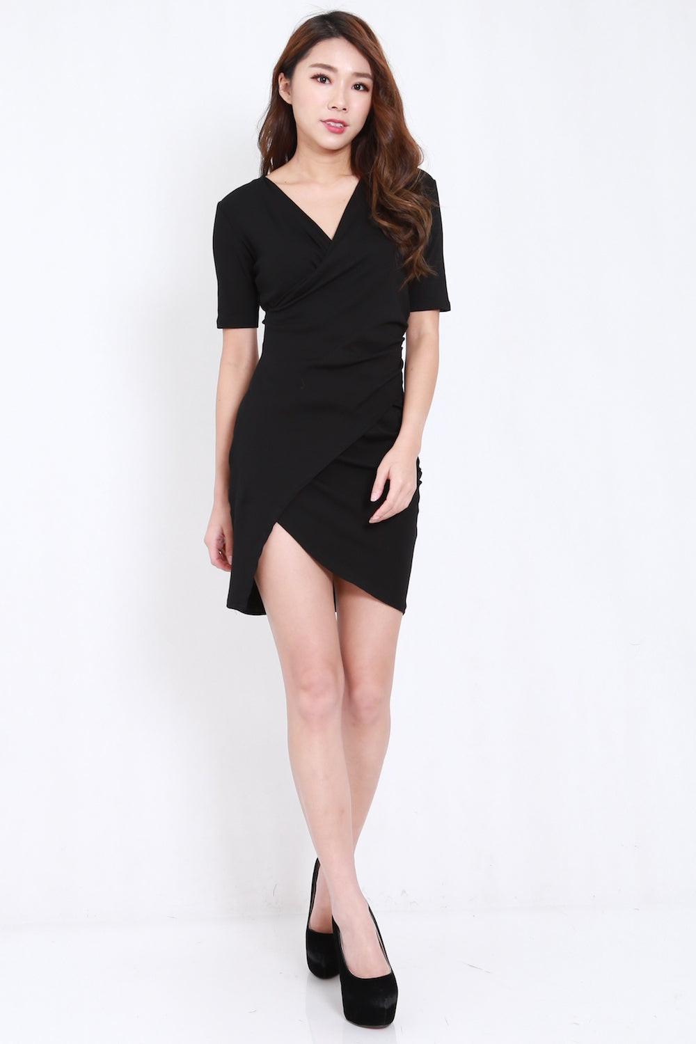 SS Overlap Wrap Dress (Black)