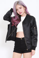 Satin Bomber Jacket (Black)