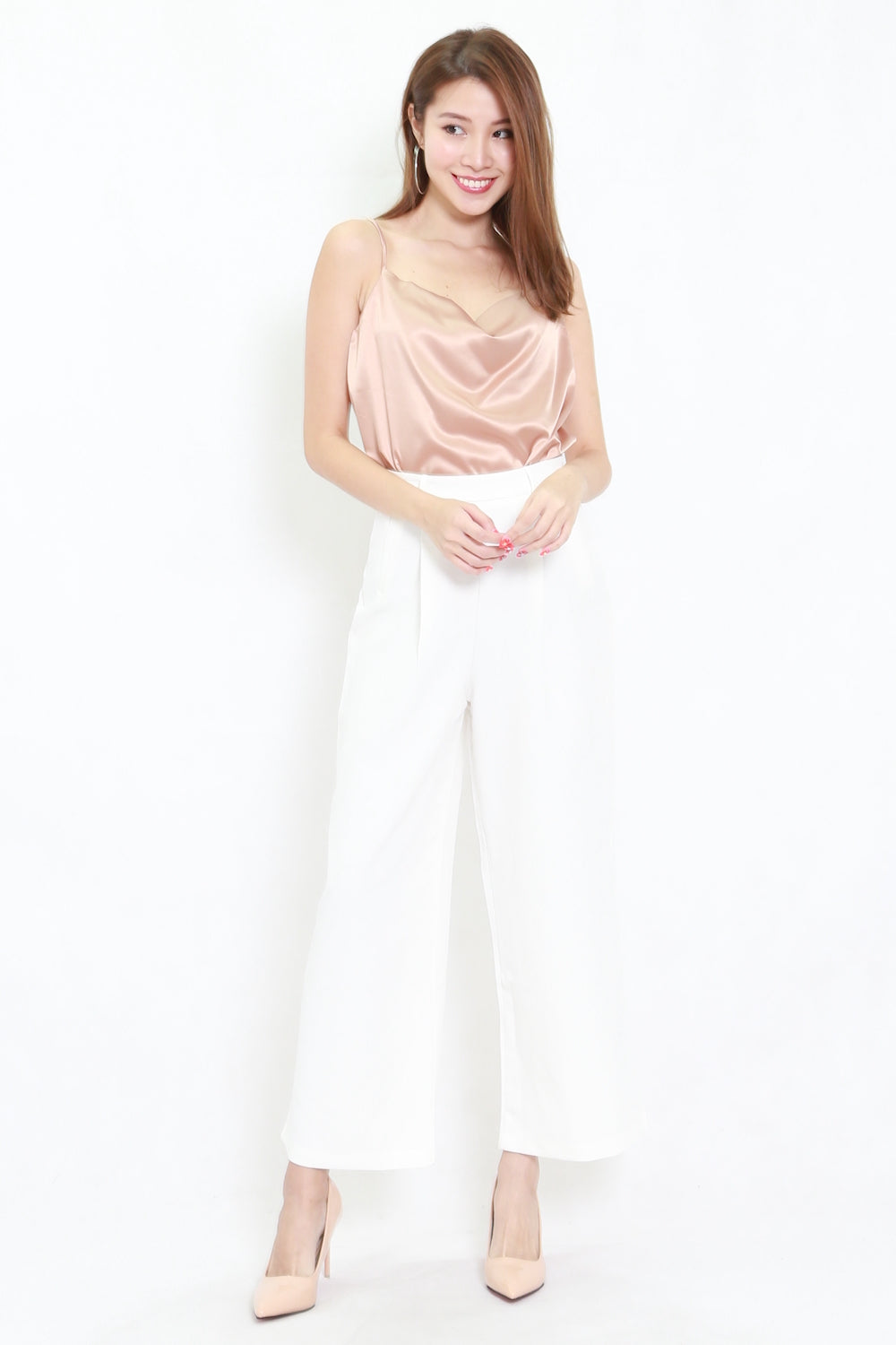 Satin Cowl Neck Top (Champagne)